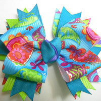Turquoise Floral Boutique Bow