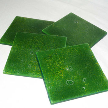 Glass Coasters Meadow Green Set of 4 by SimonAldersonGlass on Etsy