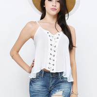 Bohemian Lace-Up Top