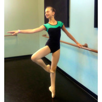 Ballet Leotard in Classic Black with Mint Green Neckline and Button Closure