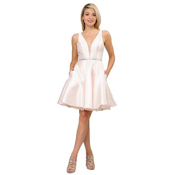 Light Champagne Satin V-Neck Embellished Waist A-Line Homecoming Dress Short