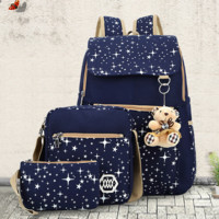 3pcs Canvas Galaxy Backpack Travel Bag