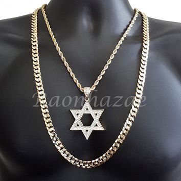 "ICED OUT BLING DAVID STAR ROPE CHAIN DIAMOND CUT 30"" CUBAN CHAIN NECKLACE SET 36"