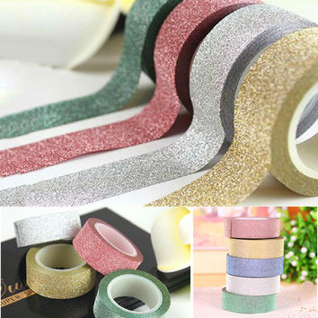 Coloful Styling 10M Scrapbooking Book Glitter Paper Self Adhesive Stick On Sticky Craft Decorative DIY Five Colors
