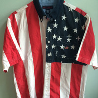 USA american flag button up // short sleeve fourth of july shirt