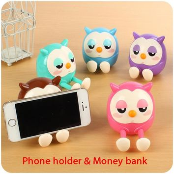 Portable Cute Owl Phone Holder Mobile Cell Phone Stents Stand 1pc Money Box Coin Bank Storage Holder