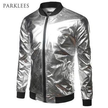Trendy Silver Metallic Bomber Jacket Men Mandarin Collar Shiny Night Club Baseball Varsity Jacket Men Casual Slim Fit Mens Jacket Coats AT_94_13