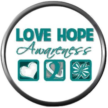 Love Hope Awareness Ovarian Cancer Teal Ribbon Support Believe Find Cure 18MM - 20MM Snap Jewelry Charm New Item