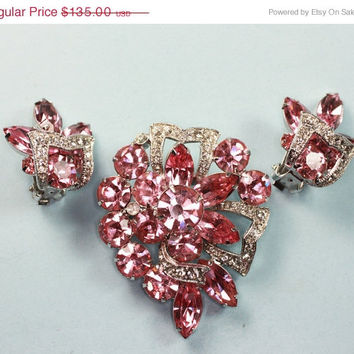 Weekend Madness Sale Eisenberg Pink and Clear Rhinestone Brooch and Earrings Set Demi Parure