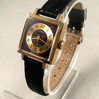 Vintage Soviet  women's watch Zarja / Zaria. Gold plated case, lovely rare brown-purple dial! new premium leather strap included!