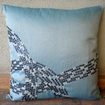 Sea Wave  Throw Pillow Covers  16x16 Inches Silk by TheHomeCentric