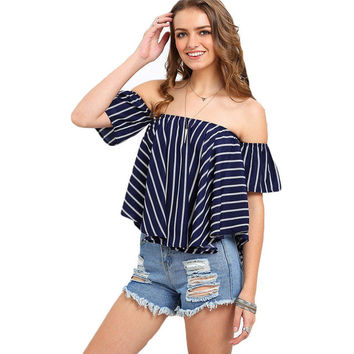 Striped Off The Shoulder Swing Top