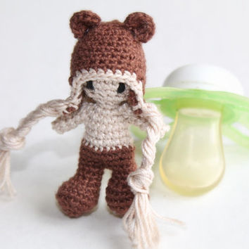 Tiny Crochet Boy (waldorf inspired; with a bear hat; handmade; amigurumi)