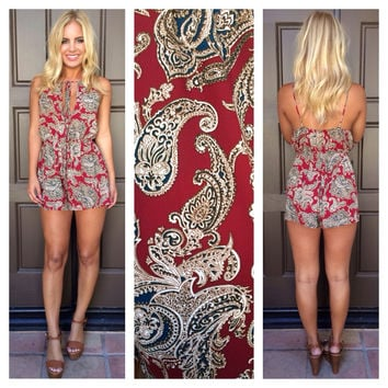 Oxford Paisley Printed Romper - CRIMSON