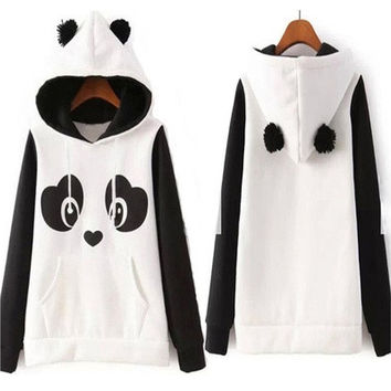 Autumn Women Funny 3D Panda Hoodie Fleece Long Sleeve Hooded Coat Jacket 03-005