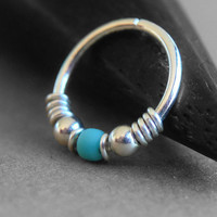 Arizona, 20g Nose Ring, One Hoop, Cartilage Hoop Earring, Sterling Silver, Titanium or Niobium Hoop, Blue and Silver