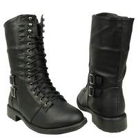 Womens Mid Calf Boots Lace Up Combat Casual Comfort Shoes Black SZ