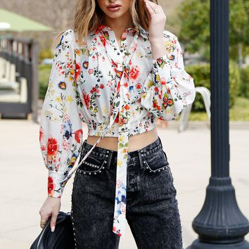 ALICE + OLIVIA | Issa Tie Front Top - Floral Soiree