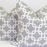 Gray Pillows.SET OF TWO.Printed Fabric Front and Back.18X18 inch.Pillow Cover Set.Geometric Pillows