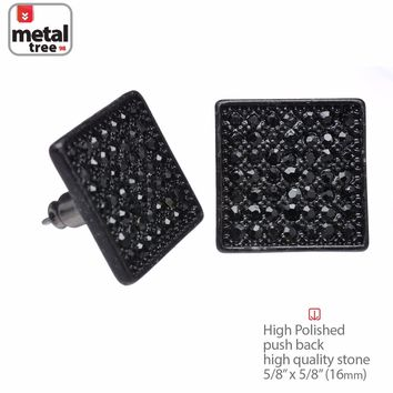 Jewelry Kay style NEW Men's Hip Hop Iced Out Black XL Square Micro Pave CZ Stud Earrings TE 521 BK