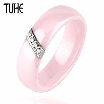 Fashion Pink Ring Women 6mm Polished Pink Ceramic Rings With Indian Stone Stainless Steel Wedding/Engagement Band Ring For Women