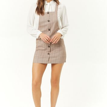 Glen Plaid Overall Mini Dress