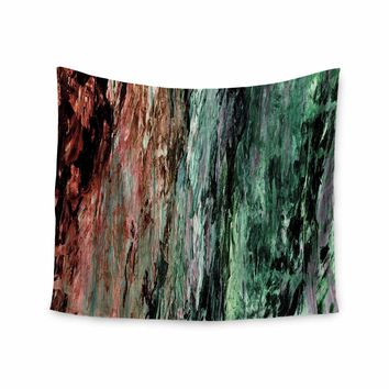 """Ebi Emporium """"RAINBOW BARK 2"""" Green Red Abstract Nature Painting Mixed Media Wall Tapestry"""