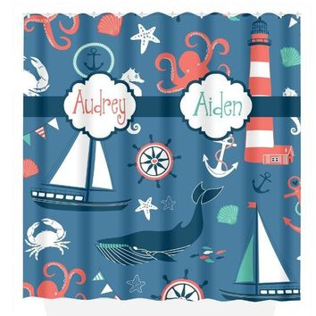 Ocean SHOWER CURTAIN, Ocean Bathroom, Sea Animals, Custom Monogram Nautical Personalized Child Kid Bathroom Decor Bath Towel,  Bath Mat