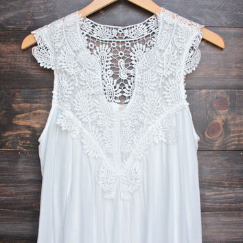 mykonos crochet lace dress - white