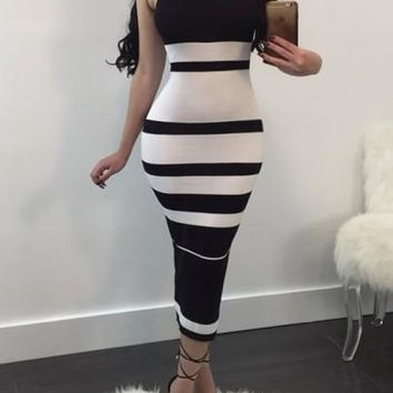 Black White Striped Halter Neck Bodycon Fashion Midi Dress