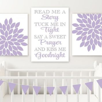 Read Me a Story Kiss Me Goodnight, Purple Lavender BABY GIRL NURSERY Wall Art, Lavender Girl Flower Quote Decor Canvas or Print Set of 3