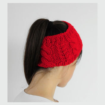 Red Cable Knit Headband,Knit Headband, Ear Warmer, Fall Hair Band