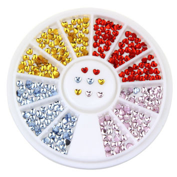 3D Heart Crystal Nail Wheel Assorted 4 Colors 2.5mm Flatback Glitter Rhinestones 3D Nail DIY Manicure Tools WY173