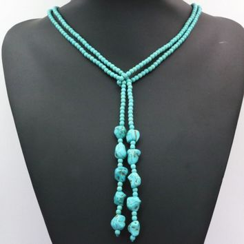 4mm  round beads Turquoise Necklaces long chain statement  diy jewelry 50 inch