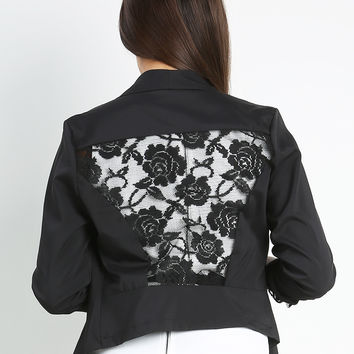 Floral Lacy Back Open Jacket
