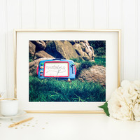 Digital download, vintage photography printable, fine art, magna doodle in grass, yard, nostalgia, film, toy, still life wall art home decor