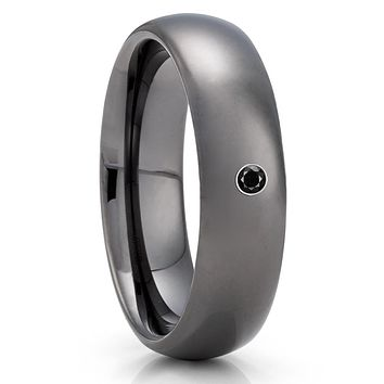 Gunmetal Tungsten Wedding Band - Black Diamond Ring - 6mm - Gray Tungsten