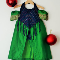 AISHA Holiday Dress | Blue and Green Edwardian Style Boho Toddler Gown/Jumper/Romper/Playsuit  w/ Fringe | Eco Friendly