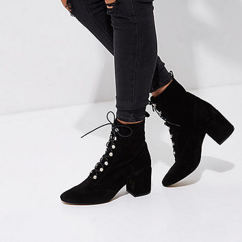Black suede tie up boots - Boots - Shoes & Boots - women