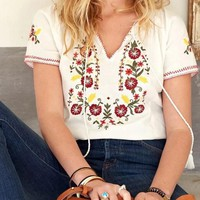 White Embroidery Drawstring Tassel V-neck Bohemian Mexican Cute Blouse