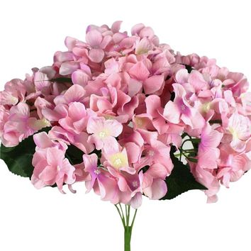 Real Touch Artificial Mini Cloth Hydrangea High Simulation Fake Flowers 7 Heads Home Office Wedding Bridal Bouquet Decorations