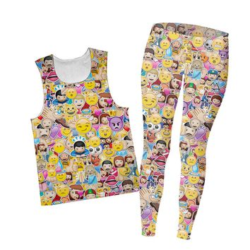 Emoji Madness Combo Tank Top and Leggings