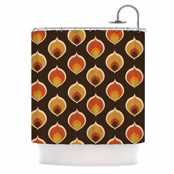 "Kess Original "" Peacock Vintage"" Orange Yellow Shower Curtain"