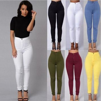 Women Pencil Pants Sexy Stretch Casual Denim Skinny Jeans High Waist Trousers US