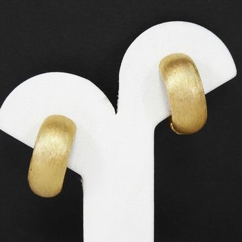 Brushed Gold Tone Clip on Cuff Earrings, Signed Trifari, Hinged Spring Clips, Cuff Style Hoop Earrings, Modernist Vintage 1960s Jewelry
