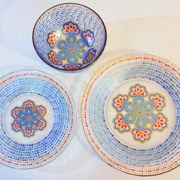 Dinnerware, Blue Dining Set, Mandalas, Pretty Dishes, Moroccan, Mediterranean, Kitchen Gifts, Housewarming Gifts, Wedding Gifts, Blue Plates