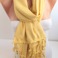 Yellow Lace Scarf Mustard Yellow Scarf Oversized Scarf with Lace edge Fashion Women Accessories