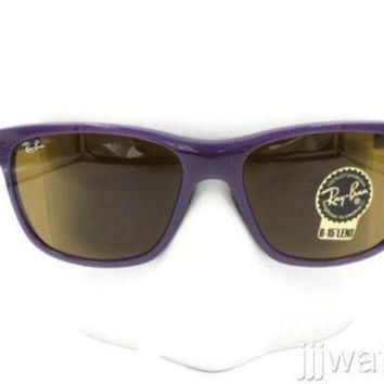 Kalete New Ray Ban Violet Sunglasses Brown Classic B-15 Lens RB4181 6034 57 $150