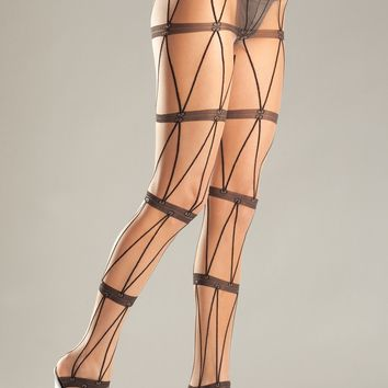 Faux Chains Design Pantyhose