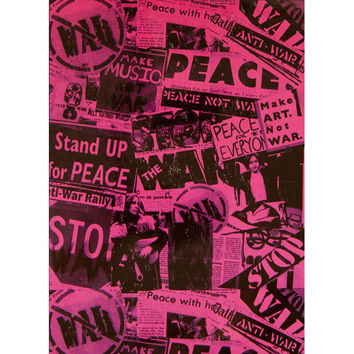 Protest War Newspaper Collage Fleece Blanket